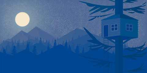 House on the tree Night forest and the mountains Big full moon Wallpaper  Landscape in the style of Flet Vector