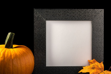 Frame on black background with pumpkin and autumn leaf with copy space