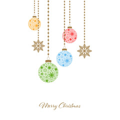 Merry Christmas. Winter holiday greeting card with Christmas balls with snowflakes. Vector illustration