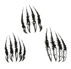 Monster beast claws and scratches, vector