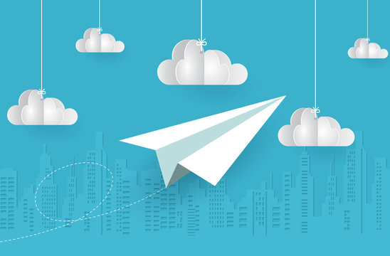 concept of business success, Paper plane white flying on sky between cloud on blue background. startup. creative idea. cartoon vector illustration