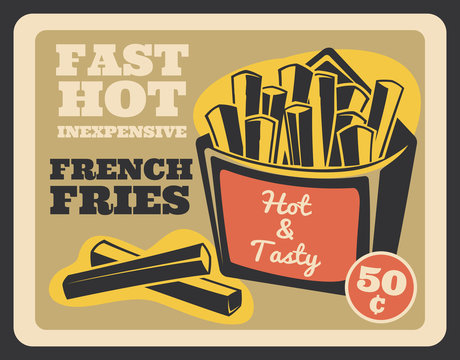 French fries pack retro banner, fast food