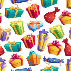 Gifts and presents boxes seamless pattern