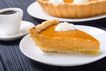 Homemade american traditional pumpkin pie