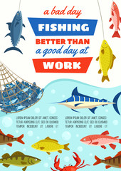 Fish in net, fishery industry and fishing sport