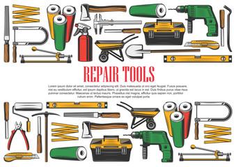 Construction and repair tools, vector