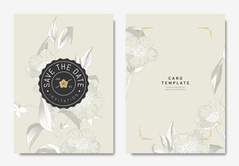 Floral wedding invitation card template design, hand drawn camellia flowers on light brown background, vintage style