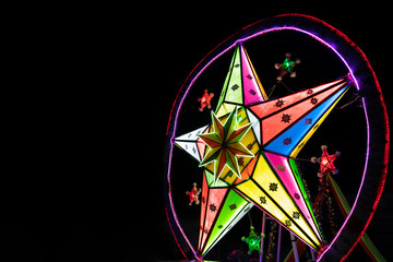 Big Stars retro multicolor light banner on dark background with copy space.