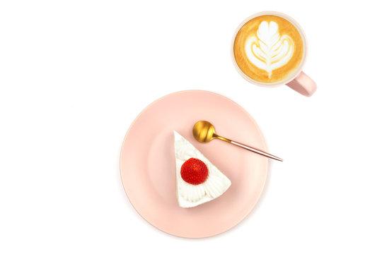 Strawberry shortcake and coffee