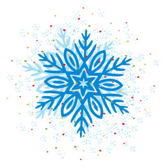 Simple black freehand icon of a snowflake