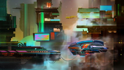painted fantastic bright city evening landscape with spaceship