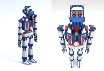 3d model of the robot android toy-like frontal view.