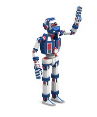 unusually highly detailed robot stands and greets with waving hand
