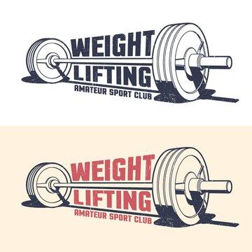 Weightlifting athleticism vintage emblem