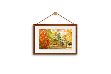 Frame mock up with colorful autumn motif picture, hanging on cords, 3d illustration