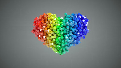 Heart shape of multicolored cubic particles 3D render illustration