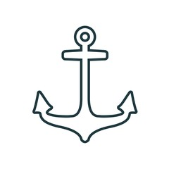 Sea travel, industry and journey sticker icon. Anchor in thin line style