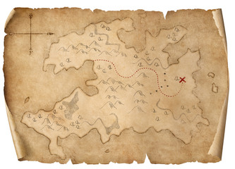 treasure medieval map isolated 3d illustration
