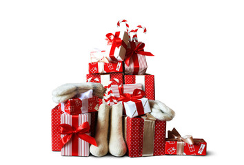 Christmas and new year gifts in red package