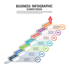 Infographics business template with 7 steps for Presentation, Sale forecast, Web design, Improvement, Step by Step