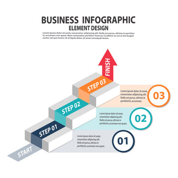 Infographics business template with 3 steps for Presentation, Sale forecast, Web design, Improvement, Step by Step