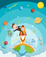 Businessman riding a rocket and smoke through cloud Business startup concept. vector illustration. flat design.