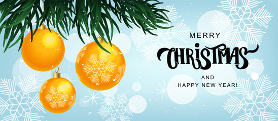 Merry Christmas text on textured background with balls. Hand lettering typography for Happy New Year holidays greeting card, invitation, banner, postcard, web, poster template. Vector illustration.