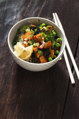 Vegetarian poke bowl healthy vegetarian food
