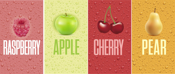 Drinks and juice background with drops and raspberry, apple, cherry, pear