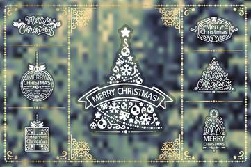 Winter Christmas Design Elements Golden Set