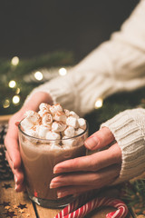 Woman holding mug of hot chocolate with marshmallows. Hot cocoa drink. Christmas, Winter holidays or New Year Comfort food, cozy background