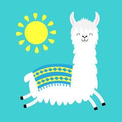 Llama alpaca running jumping. Sun. Cute cartoon funny kawaii smiling character. Childish baby collection. Fluffy hair fur. T-shirt, greeting card, poster template print. Flat design. Blue background.