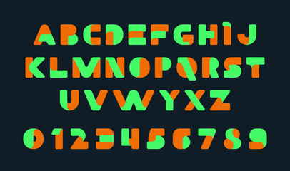 Colorful of stylized modern font and alphabet. Isolated on Black background