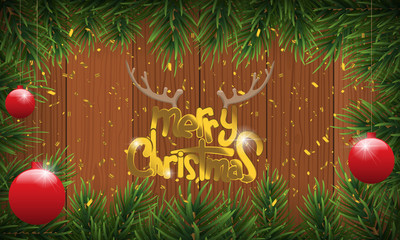Christmas background or fir border with fir branches, isolated on wood background and golden confetti. Vector illustration.