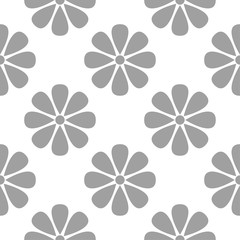 Gray floral ornament on white background. Seamless pattern