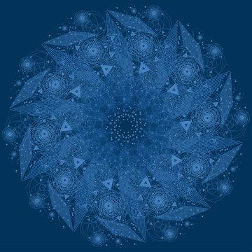 Sacred geometry symbol. Mandala mystery element.