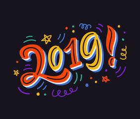 2019 bright colorful poster, banner, greeting card, gift tag, mug template