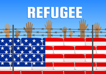 refugees raising hands behind american flag brick wall fence