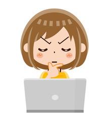 パソコン 女性 考える