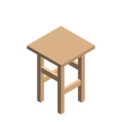 Stool. Isolated on white background. 3d Vector illustration.