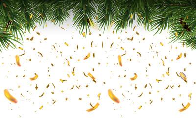 Christmas fir border with fir leaf and golden confetti. Vector Illustration.