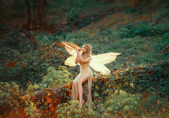 lovely girl druid with blond long hair, sits on a fallen tree, dressed in a gorgeous beige dress with open sexy slim legs, transforming into a light forest butterfly, flashing on a wooden pipe alone
