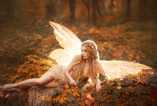 slim girl became a fairy, a model with blond long hair and golden wreath on leaves in the forest in a beige long dress with bare legs, has glowing wings behind her back, atmospheric autumn art photo