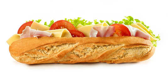 Photo sur Toile Snack Baguette sandwich isolated on white background