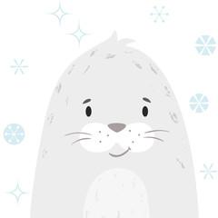 Seal baby winter print. Cute animal snowy christmas card
