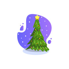 Christmas fir, isolated vector illustration. Modern flat style.