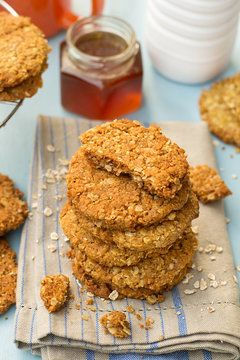 Traditional homemade Anzac biscuits with oats and coconut
