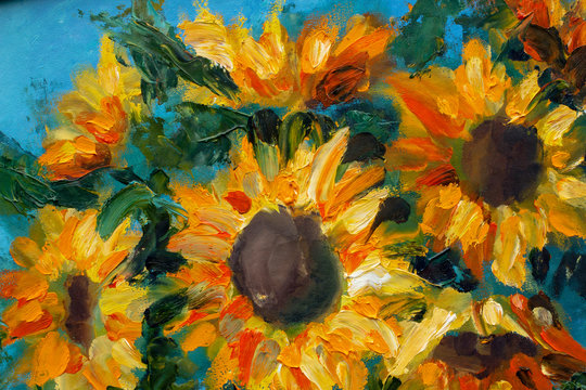 Sunflowers oil art imressionism painting floral modern