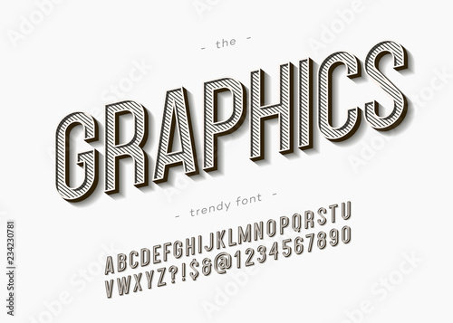 Vector bold graphics font trendy typography for industrial