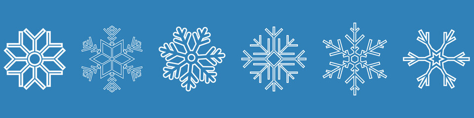 Set of vector snowflakes. Winter blue christmas snow flat crystal element. Weather illustration ice collection